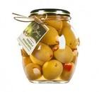 Оливки зеленые с миндалем  и красным перцем Mylos plus 360 гр